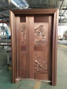 钢亚博足彩工厂实物展示 不锈钢镀铜子母门